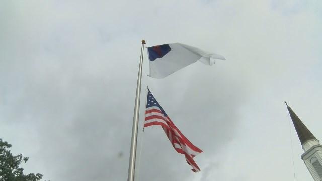 christian flag over american flag