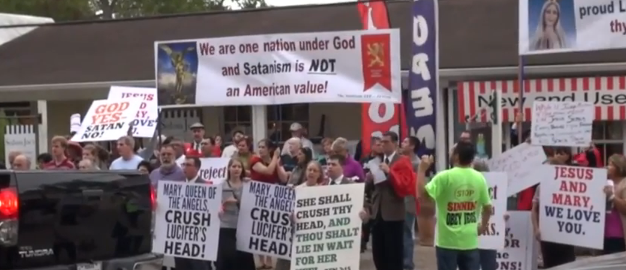 christian protest opening of church of lucifer in texas