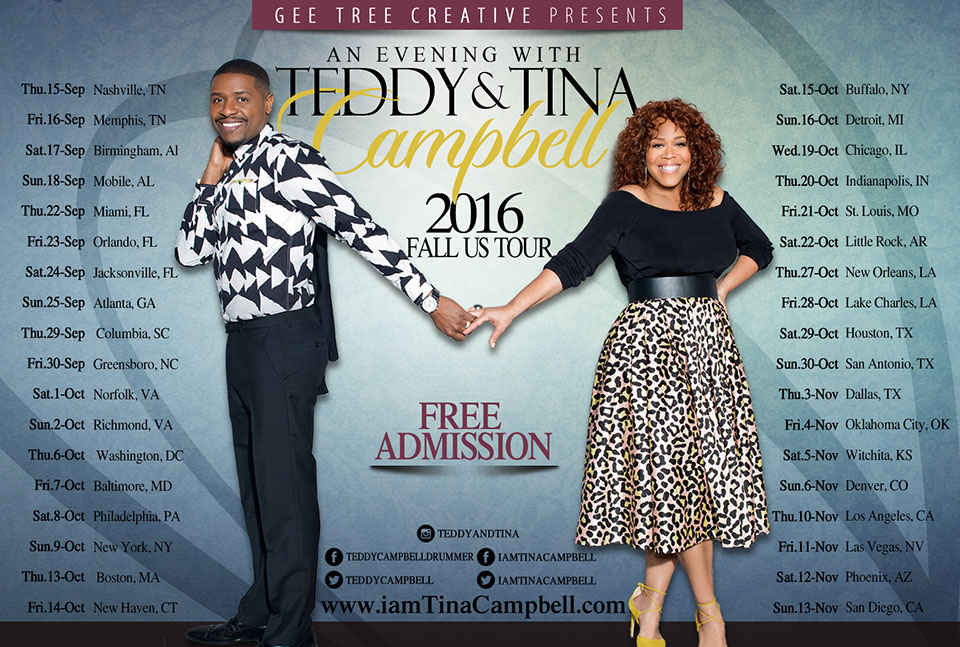 an evening with teddy and tina campbell tour 2016