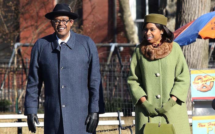 """Jennifer Hudson and Forest Whitaker seen filming the Aretha Franklin Biopic """"Respect"""" in NYC"""